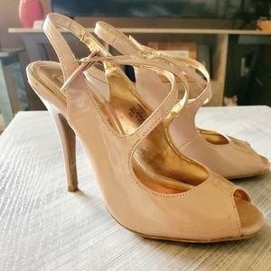 Steve Madden front cross Dineen Nude heels